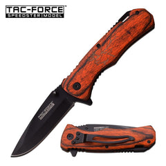 Tac-Force Spring Assisted Folding Knife Brown Pakka Handle with Elk Etching