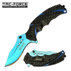 "3.75"" Blade Blue Serrated Tactical Black Spring Assisted Folding Knife"