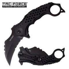 "Tac-Force 3"" Black Serrated Blade Karambit Tactical Spring Assist Knife"