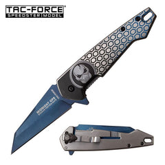 Midnight Ops Blue Titanium Blade Skull EDC Spring Assisted Knife