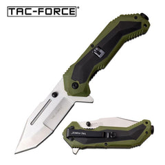 Silver Tanto Blade Black Green Military Tactical Spring Assist Knife