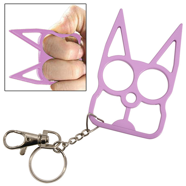 Cat Self Defense Knuckle Key Chain Purple