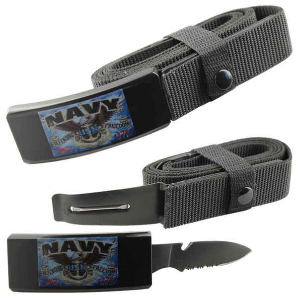 Navy Adjustable Nylon Tactical Belt Knife With Hidden Blade