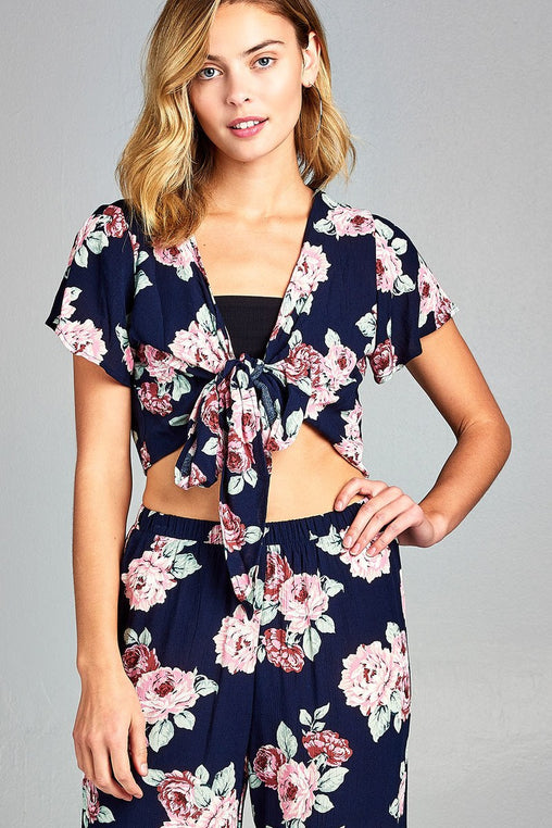 Short Sleeve Tie Floral Print Woven Top