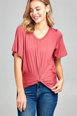 Short Sleeve Front Twisted Top