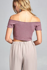 Short Sleeve Off the Shoulder Knit Crop Top