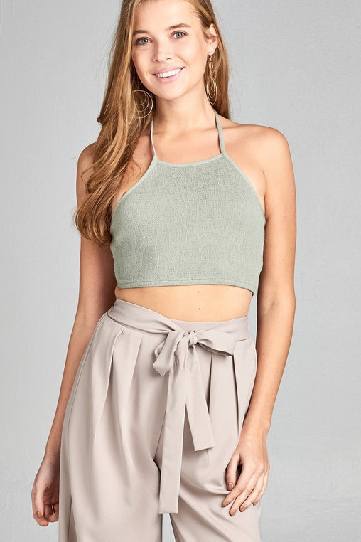 Smocked Fabric Ribbon Tie Crop Top