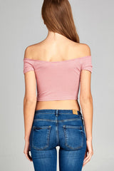 Short Sleeve Off the Shoulder Crop Stripe Rib Top