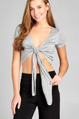 Short Sleeve Self Tie Crop Top