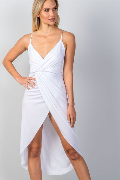 White Hi-Low Deep Plunge Summer Dress