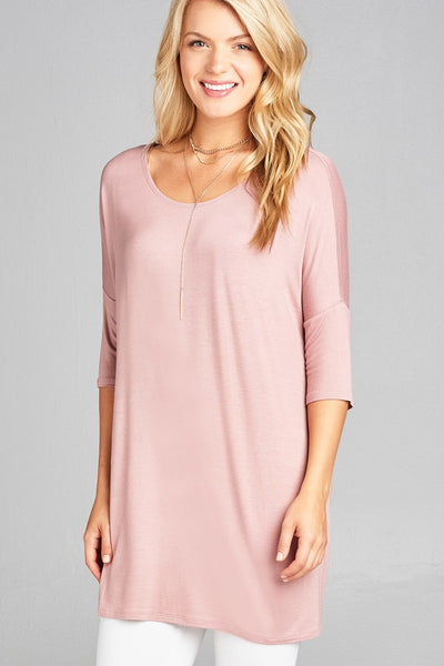 Banded Elbow Sleeve Round Neck Jersey Tunic Top
