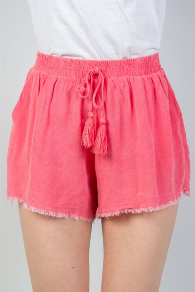 Watermelon Drawstring Raw Hem Shorts