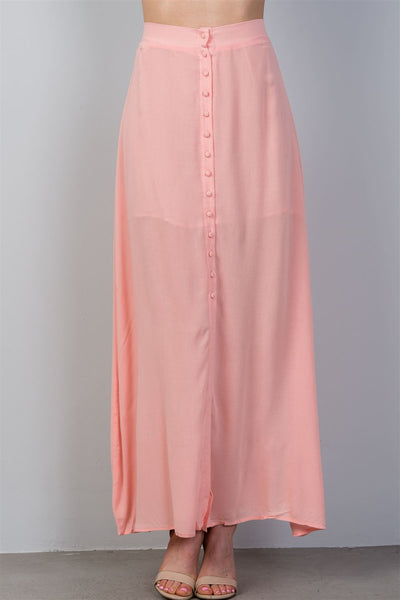 Front Split Buttoned Pink Skirt
