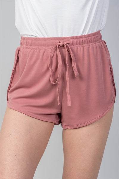 Dusty Rose Drawstring Waist Comfortable Shorts