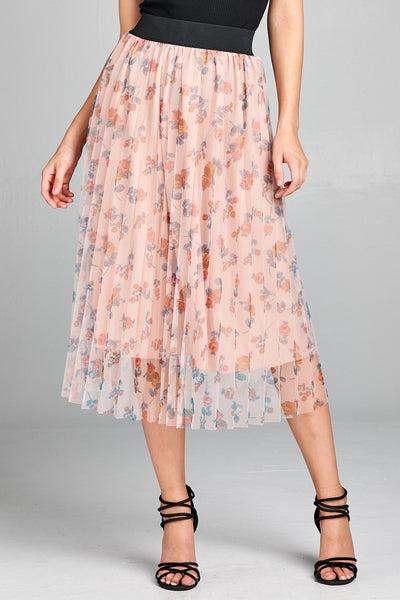 Accordian Pleated Floral Print Mesh Midi Skirt