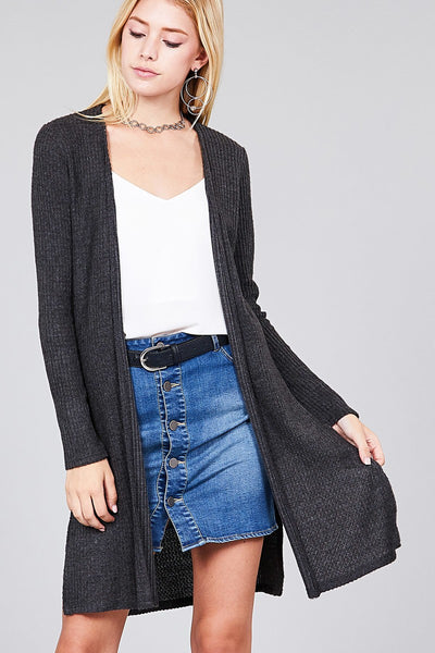 Long Sleeve Side Slit Brushed Waffle Cardigan