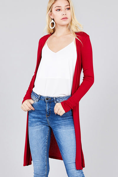 Thin Long Sleeve Side Slit Rib Cardigan