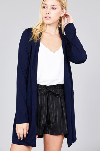 Long Sleeve Notched Collar W/Pockets Coat