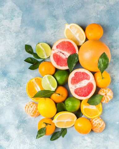 An image of citrus fruits neatly prepared on a table.