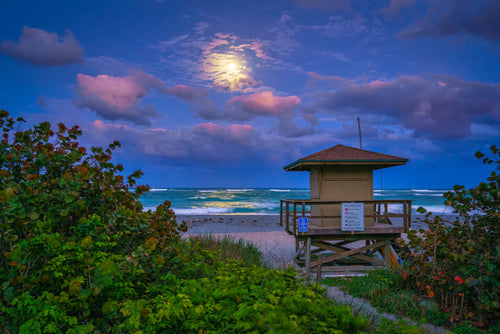 Jupiter Inlet Fullmoon Rise Lifeguard Tower
