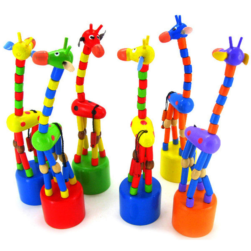 Multicolor Wooden Spring Dancing Standing Rocking Giraffe
