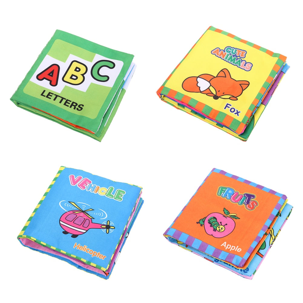 Baby Books Animals,  Letters, Vehicles, Fruit Soft Cloth Book