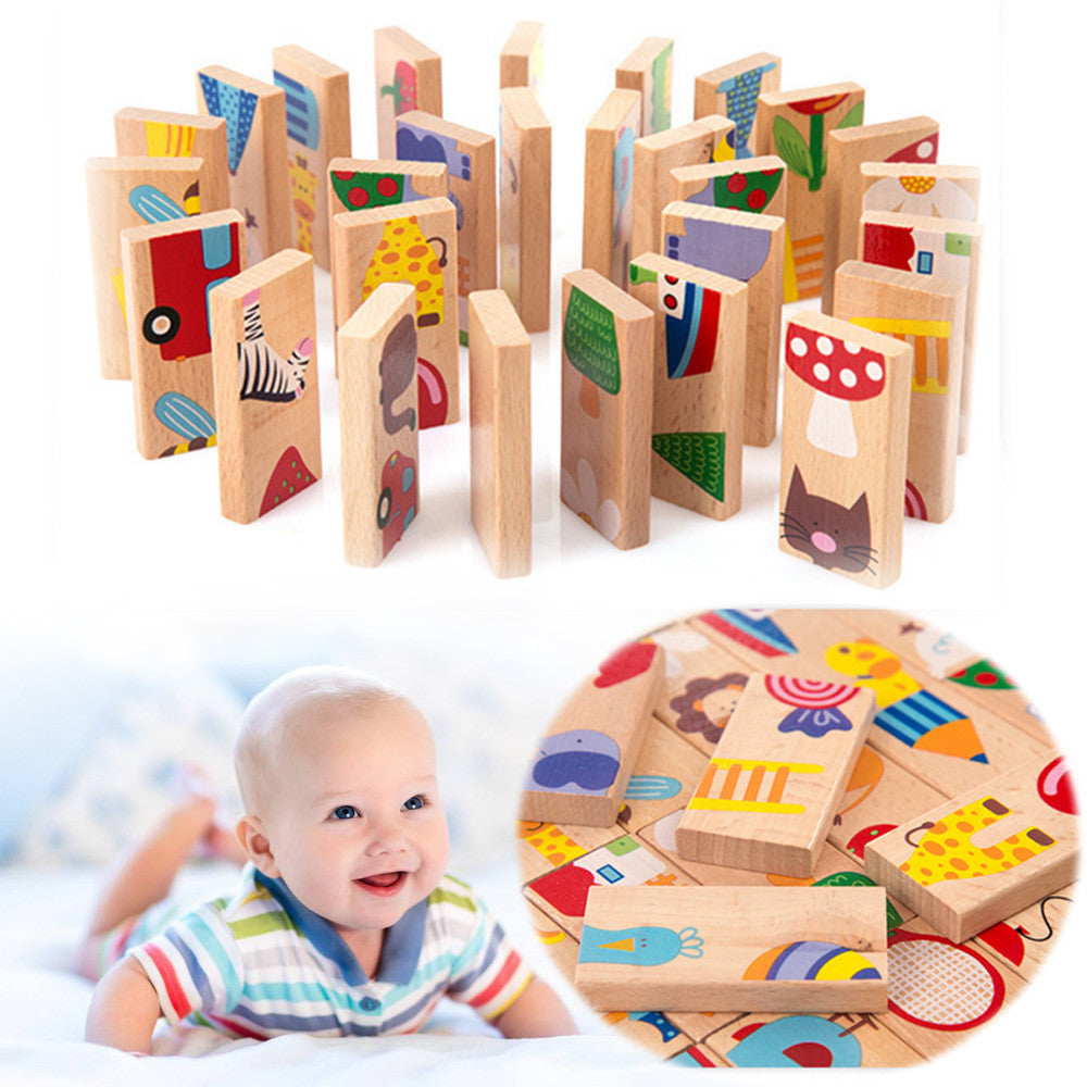 28Pcs/Set Animal Wooden Domino Puzzle