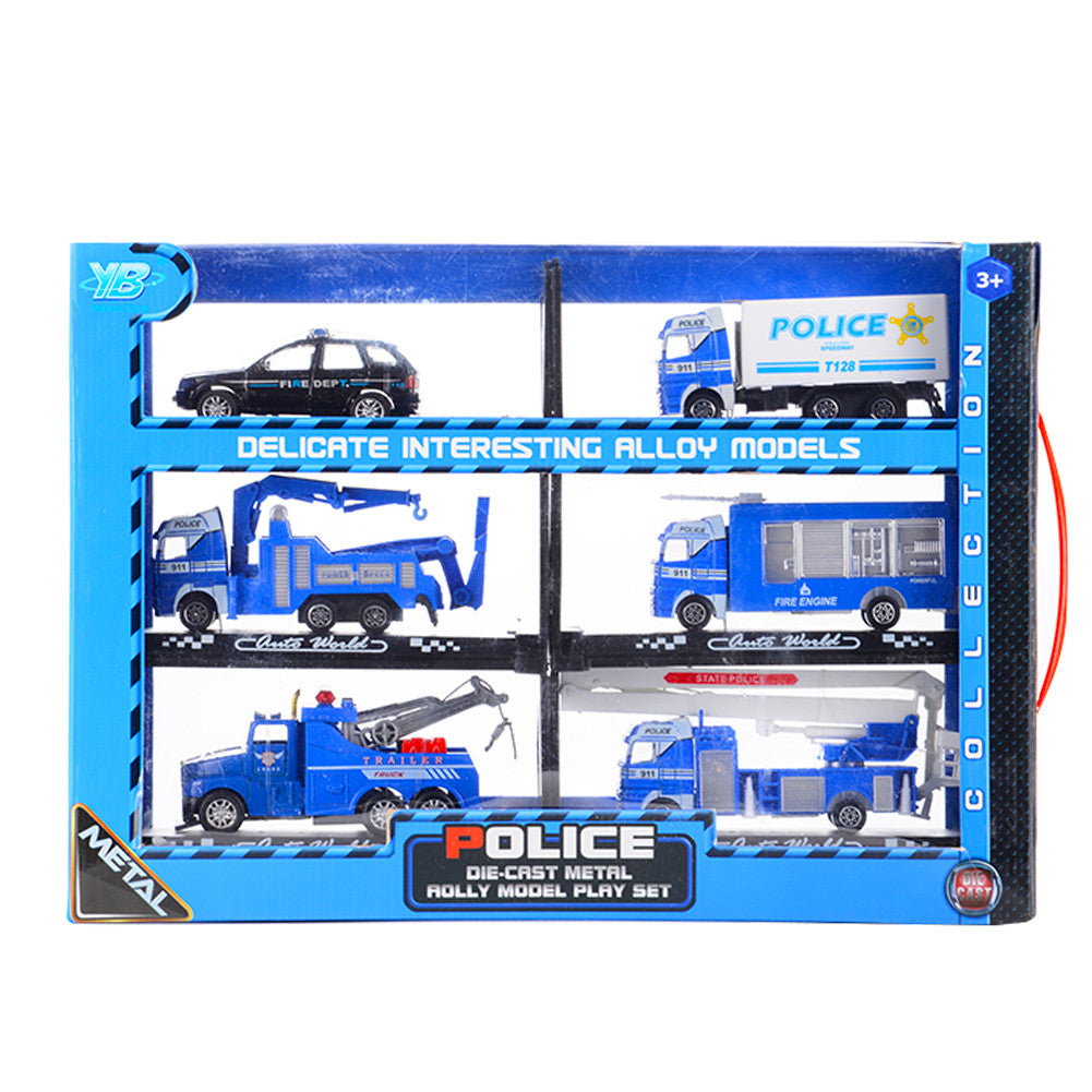 6PCS Diecast Metal Car Models Play Set Police Cars Vehicle Playset