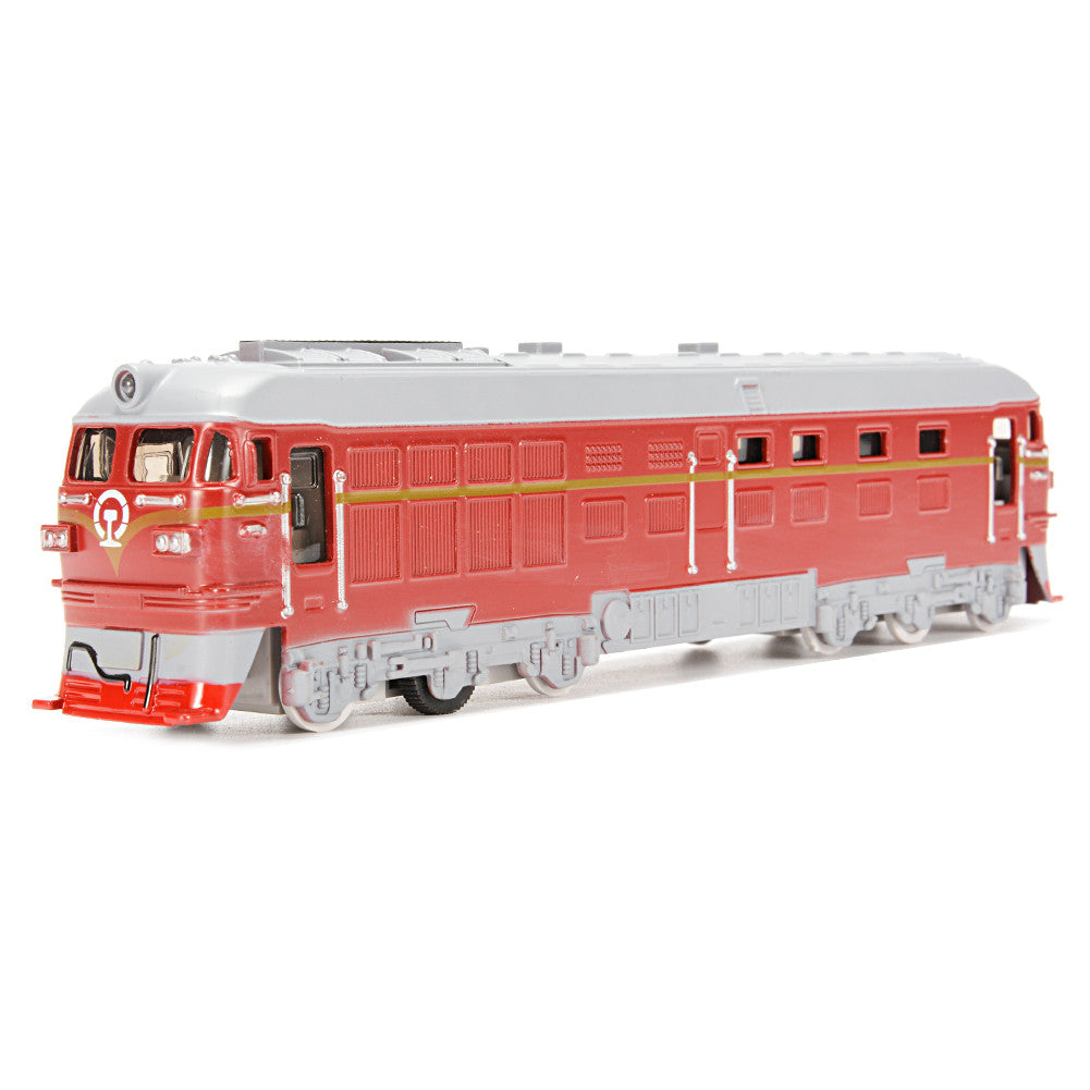 Diecast Metal Train Model Toy Classic Train Toy with Sound and Light Vehicle Playset (Red)