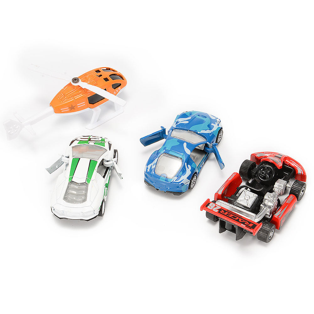4PCS Diecast Metal Car Models Cars and Helicopter Play Set Pull Back Cars Vehicle Playset