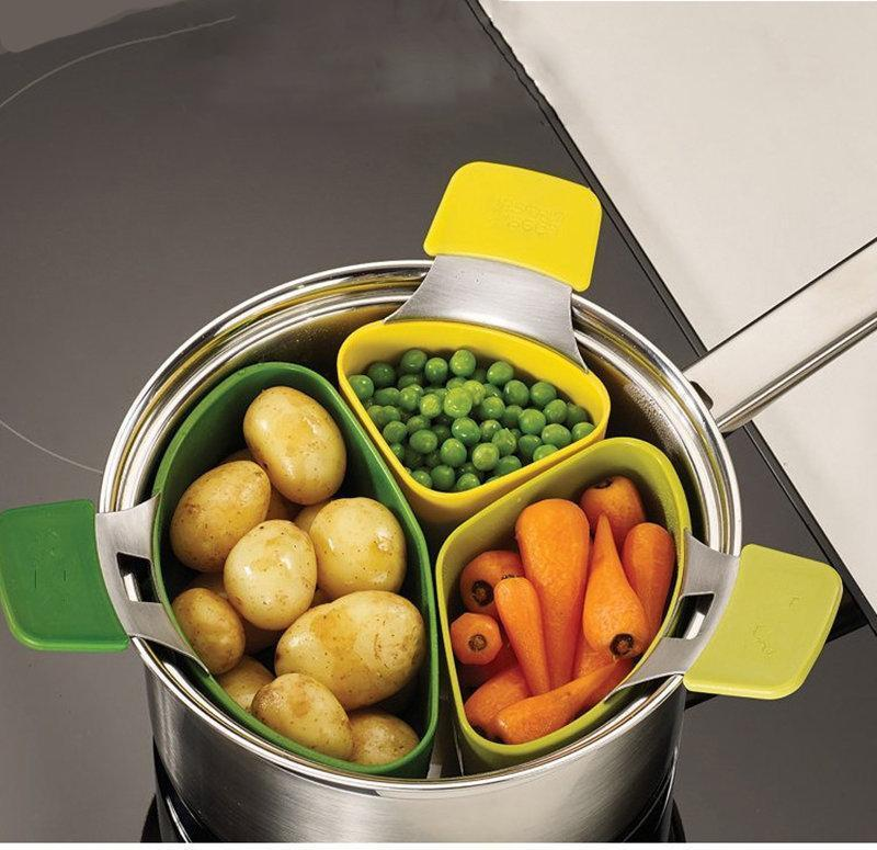 【Wholesale】Creative Cooking Basket Three-piece Small Steamer Steamed