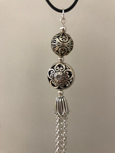 Antiqued Silver Tassel Pendant With Czech Glass Beads - All The Small Things