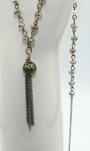 Bronze Tassel Necklace with Pearl and Glass Bead Chain - All The Small Things