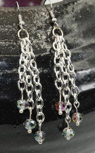 Plated Tassel Chain Earrings with Czech Glass Beads With Sterling Silver Plating - All The Small Things