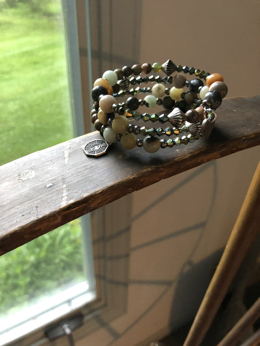 Four Strand Earth Toned Boho Charm Bracelet with Yin-Yang Charm with Semi Precious and Czech Glass Beads - All The Small Things