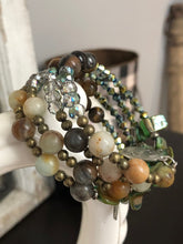 Load image into Gallery viewer, Four Strand Earth Toned Boho Charm Bracelet with Semi Precious and Czech Glass Beads - All The Small Things