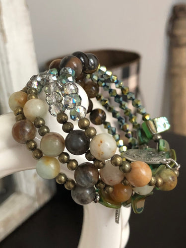 Four Strand Earth Toned Boho Charm Bracelet with Semi Precious and Czech Glass Beads - All The Small Things