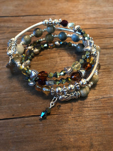 Four Strand Wrap Bracelet with Gorgeous Austrian Crystals, Silver Plated Charms & Amazonite Beads - All The Small Things