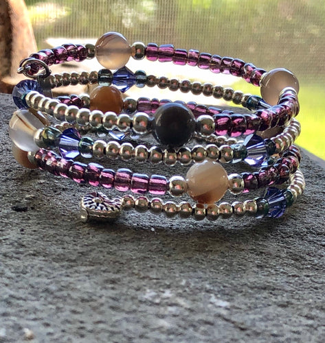 Four Strand Amethyst Colored Austrian Glass Beads, Silver Plated Charms, Dragon Vein Agate Beads - All The Small Things