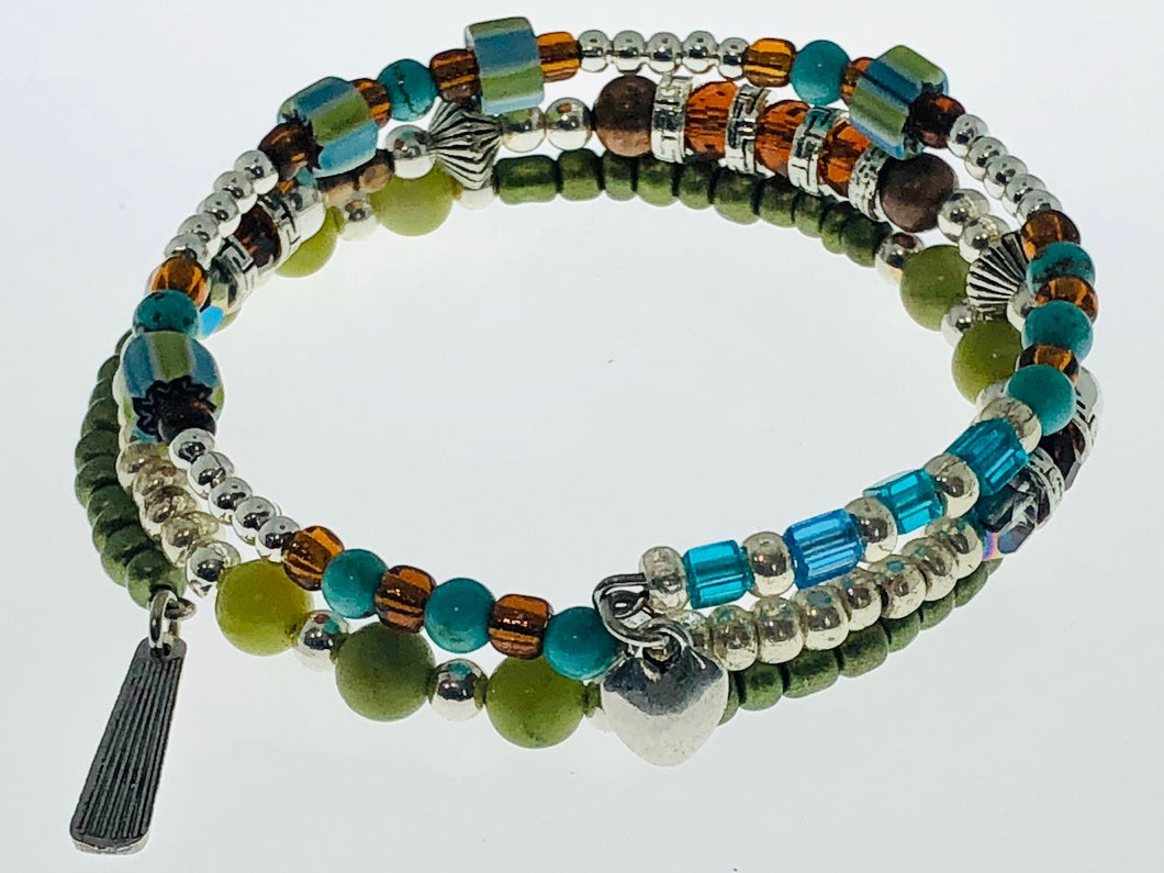 Three Strand Bracelet with Amber, Turquoise and Jade Beads - All The Small Things