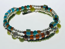 Load image into Gallery viewer, Three Strand Bracelet with Amber, Turquoise and Jade Beads - All The Small Things