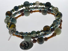 Load image into Gallery viewer, Three Strand Wrap Bracelet with Amazonite Semi-Precious Beads and Dragon Vein Agate Beads - All The Small Things