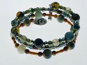 Three Strand Wrap Bracelet with Amazonite Semi-Precious Beads and Dragon Vein Agate Beads - All The Small Things