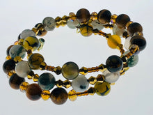 Load image into Gallery viewer, Three Strand Wrap Bracelet with Tiger Eye, Amazonite and Dragon Vein Beads - All The Small Things