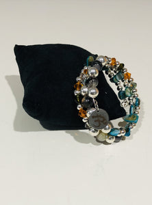 Three Strand Blue Toned Boho Charm Bracelet with Semi Precious and Czech Glass Beads - All The Small Things