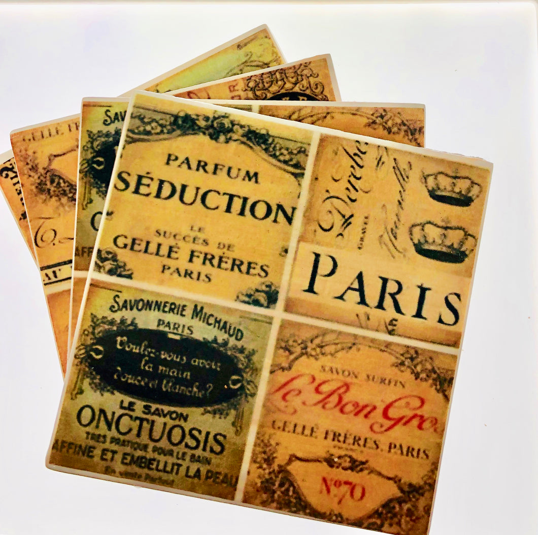 Set of 4 Old Paris Coasters - All The Small Things