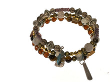 Load image into Gallery viewer, Amber Colored Czech Beaded Three Strand Bracelet - All The Small Things