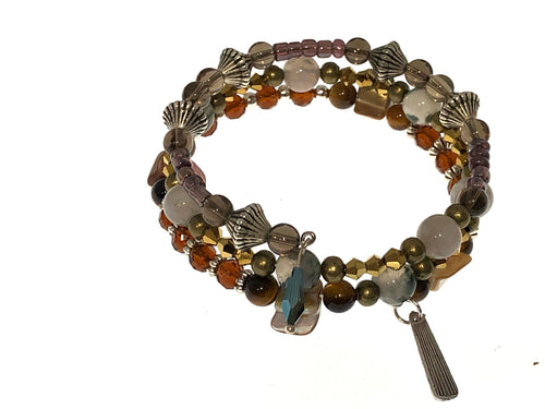 Amber Colored Czech Beaded Three Strand Bracelet - All The Small Things