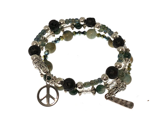 Lava Bead Wrap Bracelet with Peace Sign  ☮️Charm - All The Small Things