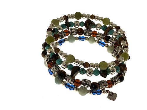 4 Strand Boho Bracelet with Turquoise and TIger's Eye Stones - All The Small Things